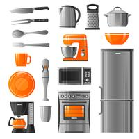 Appliances And Kitchen Utensil Icons Set vector