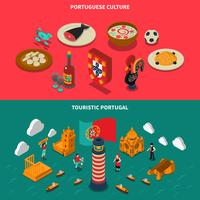 Portugal Isometric Banners Set  vector