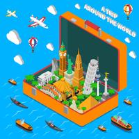 World Landmarks In Suitcase Isometric Poster vector