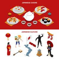 Japanische touristische isometrische Banner