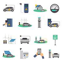 Conjunto de iconos planos de carga de coche eléctrico