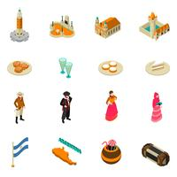 Argentine Touristic Isometric Symbols Icons Collection  vector