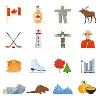 Colección de iconos planos de símbolos nacionales de Canadá