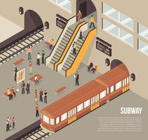 Subway Metro Underground Station Isometric Poster  vector