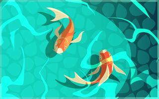 Koi carpa cultura japonesa ilustración de dibujos animados