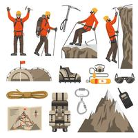 Climbing Hiking Mountaineering Icons