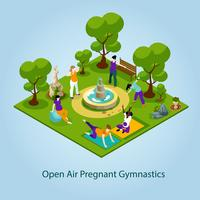 Open Air Gymnastics For Pregnant Illustration  vector