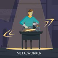 Metalworker Production Process Flat Retro Poster
