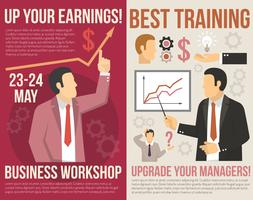 Business Training Consulting Flat Vertical Banners