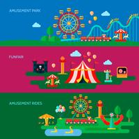 Amusement Park Banners Set  vector