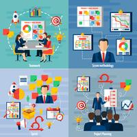 Scrum Agile 4 Flat Icons Square
