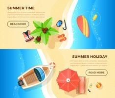 Beach Vacation Top View 2 Banners  vector