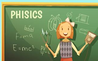 Schulphysik-Bildungs-Klassenzimmer-Karikatur-Plakat