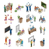 School College University Isometric Set
