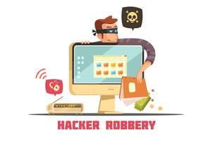 Icône de dessin animé rétro de sécurité informatique Hacker