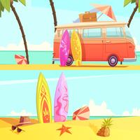 Surfing Banners Retro Cartoon Illustration