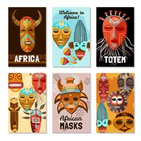 African Ethnic Tribal Masks Cards vector