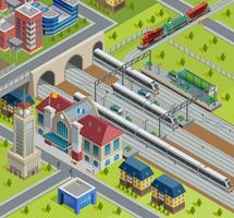 Train Railway Station Isometric Poster