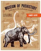 skissa handritad mammutillustrationaffisch
