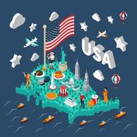 Mapa isométrico de Estados Unidos