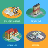 Real Estate 4 Isometric Icons Square