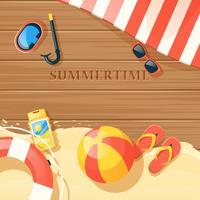Illustrazione di attrezzature da spiaggia