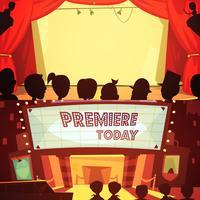 Conjunto de banners de teatro dibujos animados retro