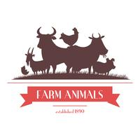 Farm Animals Label of uithangbordontwerp