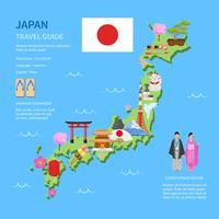 Travel Japan Guide Flat Map Poster