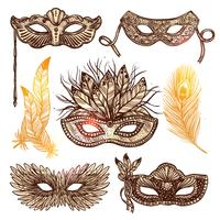 Carnival Mask Sketch Set  vector
