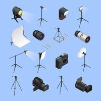 Conjunto de ícones de equipamento de estúdio de fotografia isométrica