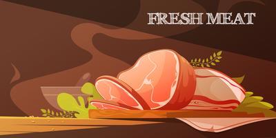 Färska kötttecknadillustrationen