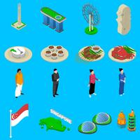 Singapore Travel Symbols Isometric Icons Set