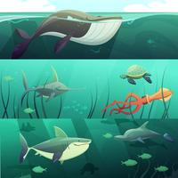 Conjunto de Banners de dibujos animados retro de vida submarina