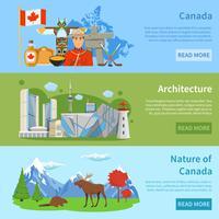 Información de viaje de Canadá 3 Banners planos