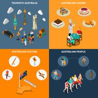 Australia Travel  4 Isometric Icons Square