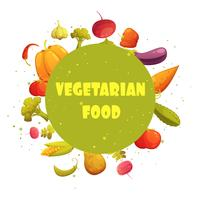 Vegetarian Food Round Vegetables Composition Poster