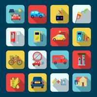 Conjunto de iconos cuadrados de energía alternativa