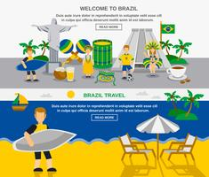 Brazilian Culture 2 Flat Banners Composition vector
