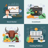 Investimento e commercio concetto di design 2x2