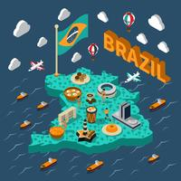 Brazil Isometric Map vector