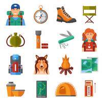 Conjunto de ícones de cor plana de caminhadas