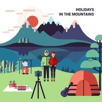 Camping em ilustração vetorial de montanhas