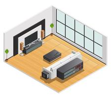 Living Room Interior Isometric View Poster