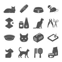 Healthy indoor cat black icons set vector