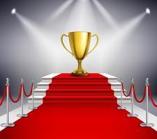 tappeto rosso con trofeo