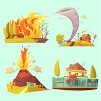 Natural Disaster Retro Cartoon 2x2 ikoner Set