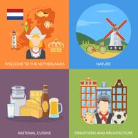 Netherlands 2x2 Flat Icons Set