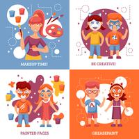 Children With Painted Faces Concept Icons Set
