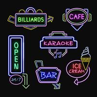 Neon Signboards Realistic Night Icons Collection
